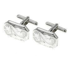 Sterling Silver Engraved Cufflinks Made To Order in Jewellery Quarter B'ham