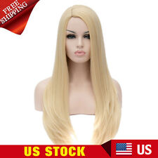 Womens Straight Blond Heat Resistant Cosplay Ball Coser Full Wigs Halloween Hair