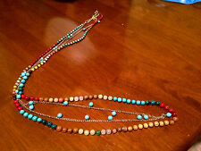 Nakamol Long Mixed Multi Gem Beaded Necklace Gold Chain Turquoise Red Jasper 40""