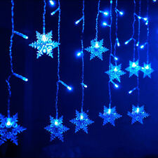 3.5M 96LED Snowflake Snowing Curtain Fairy Lights Window Showcase Christmas Xmas