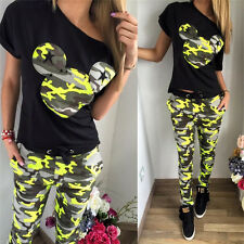 Womens Short Sleeve Tracksuit 2pcs Set Casual Sports Top Shirt + Pants Trousers