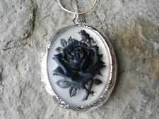BLACK ROSE ON FROSTED CAMEO SILVER PLATED LOCKET-- VICTORIAN - steampunk - goth