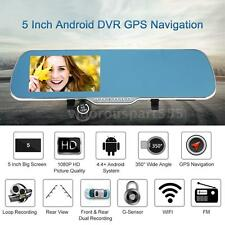 """Android Smart 5"""" HD GPS Navigation Car Rearview Mirror DVR Dual Lens Camera 3MN4"""