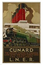 cunard liner VINTAGE TRAVEL POSTER classic steam ship COLLECTORS 24X36 hot