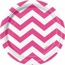 "8 Hot Pink White Chevron ZigZag Birthday Party Small 7"" Paper Plates"