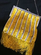 Sterling Silver Art Deco 1920's Flapper Yellow Bead Purse