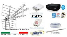 KIT ANTENNA  TV DIGITALE TERRESTRE +DECODER +AMPLIFICATORE+ ALIMENTATORE