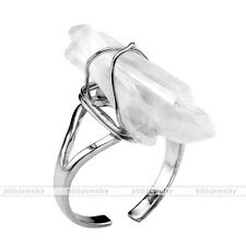 1x Wire Wrap Clear Quartz Crystal Healing Chakra Gemstone Stone Bead Finger Ring