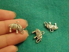 10 elephant pendants charms Tibetan silver antique wholesale jewelry making UK-7