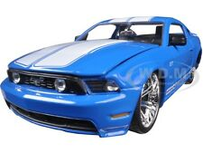 2010 FORD MUSTANG GT BLUE W/ WHITE STRIPES 1/24 DIECAST MODEL CAR BY JADA 96868