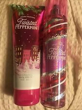 BATH & BODY WORKS TWISTED PEPPERMINT BODY CREAM FINE FRAGRANCE MIST w/FREE SHIP