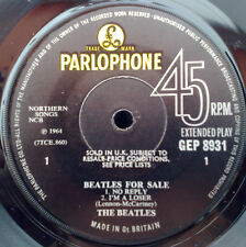 """ BEATLES FOR SALE  "" SUPER MEGA RARE SOLID CENTRE PRESS WITH SOLD IN UK TEXT"