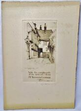 CYRIL H BARRAUD SIGNED PRIVATE COMMISION ETCHING MERMAID INN RYE SUSSEX ENGLAND