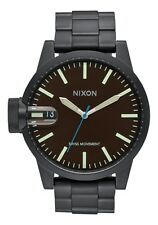 NEW NIXON CHRONICLE SS ALL BLACK/BROWN  A198 712