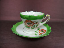 Occupied Japan Miniature Hand Painted Poppy Demitasse Tea Cup and Saucer