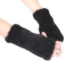 South Korea Latest Style Women's Real Mink Fur Knitting Fingerless Gloves*Black