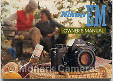 Nikon EM Instruction Book, More Camera User Manuals & Owners Guides Listed