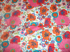 Floral 70's Inspired Pop Art Cotton Voile Fabric Apparel Hot Pink   BFabric