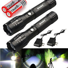 2x Police Tactical 10000LM CREE XML T6 Rechargeable LED Flashlight Zoom Tor