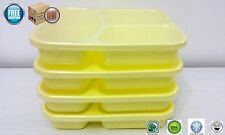 4 Lunch Box Divided Plates Food Tray Container BPA Free MicroWave Safe YELLOW