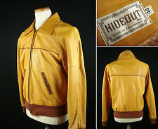 Vintage HIDEOUT Full Zip Deerskin Leather Jacket Orange Brown sz 44