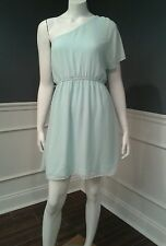 Express S mint green one shoulder chiffon dress elastic waist Sislou O1d1