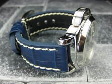 New BIG CROCO 20mm Blue LEATHER STRAP White Stitch watch Band OMEGA Seamaster