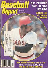 AUGUST 1978 BASEBALL DIGEST BOSTON RED SOX JIM RICE ON COVER