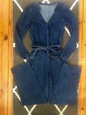 BNWOT ASOS BLUE DENIM KARATE TIE WAIST WIDE LEG JUMPSUIT UK 4 6 8 XS