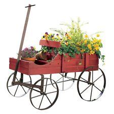 Wooden Garden Cart Amish Flower Holder Barn Wagon Lawn Country Rustic Decorative