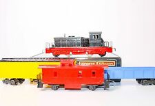 Antique West German Made Distler BB Diesel Switcher with three train cars