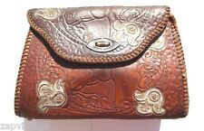 Vintage 1950's Brown Embossed Hand Tooled (Horse / Western) Leather Purse