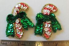 PAIR OF CANDY CANE SEW ON APPLIQUES WITH BEADS AND SEQUINS