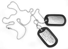 """MILITARY DOG TAGS Army DogTags Shiny 2 x CHAINS 26"""" & 4.5"""" PERSONALISED FREE !"""