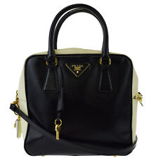 Authentic PRADA 2Way Shoulder Hand Bag Patent Leather Black Ivory Padlock 65Z061