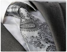 NUOVO Stilista Italiano grigio scuro paisley cravatta con hanky
