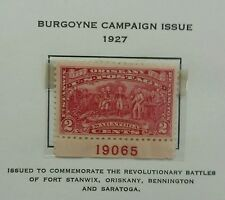 Scott #644 . 2 Cents Stamp  1927 Burgoyne Campaign Issue  with serial number.MNH