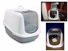 Jumbo gatto Lettiera toilette Filtro di carbonio vassoio con cappuccio XXL spazioso Bianco Grigio