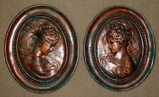 "17"" Vintage Victorian Lady Cameo Face Wall Hanging Plaque Pair Antique Finish"