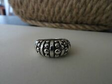 STERLING SILVER BEADED RIDGE DOME RING *SIZE 6* VINTAGE