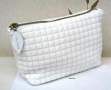 Clarins Small White Patterned Lined Bag  New
