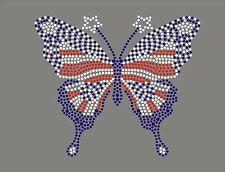 Butterfly USA Rhinestone iron on Bling Transfer DIY Hot fix Applique 4th of July