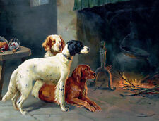 Huge Oil painting beautiful three dogs with prey dead birds by Fireplace canvas
