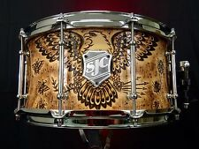 SJC Custom Drums Wood Burn Eagle And Ship Snare! Hand Done Original!