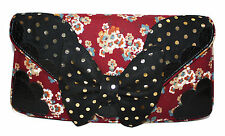 NEW IRREGULAR CHOICE *LOONY LOLLY CLUTCH* BLACK/RED FLORAL/SPOTTY BOW CLUTCH BAG