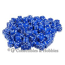 NEW 200 16mm 5/8 inch Blue w/ White Pips D6 Six Sided Game Dice Bulk Koplow