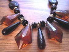 VTG Necklace LUCITE Black & faceted amber Gold tone Metal RETRO length 17.5""