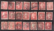 GB QV 1d Penny Red unchecked collection (21V) WS3065