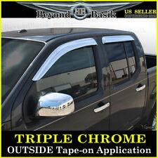 2005-2017 Nissan Frontier Crew Cab 4PC Chrome Door Vent Visors Rain Guards