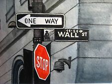 Watercolor Painting New York Road Stop Sign Building Wall Street One Way Art